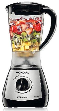Liquidificador Mondial Premium com 5 Velocidades 550W L-51 Preto e Prata - 127V