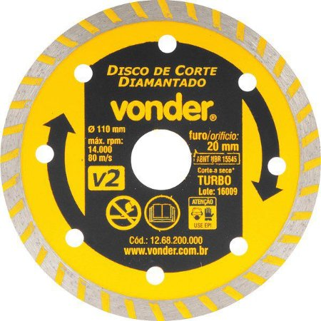 Disco de Corte Diamantado Vonder 110 mm Furo de 20 mm Turbo V2