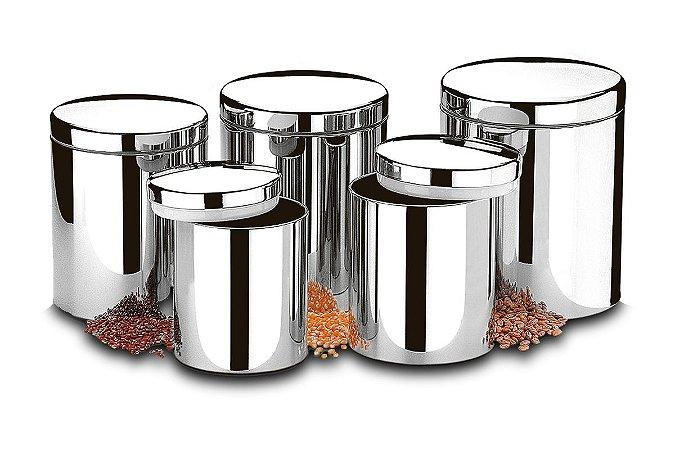 Conjunto de Potes Brinox para Mantimentos com Tampa 5 Peças Suprema