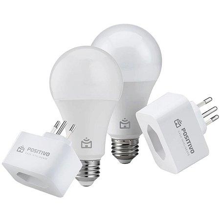 Kit Casa Eficiente Inteligente Positivo 2 Smart Lâmpadas Wi-Fi + 2 Smart Plugs Wi-Fi Branco - Bivolt