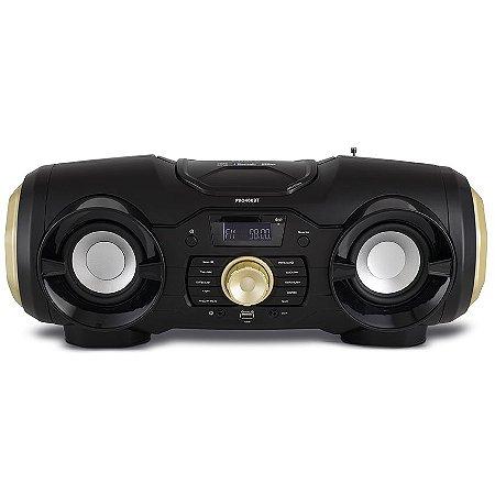 Caixa de Som Bluetooth Philco Boombox PB0400BT Reproduz MP3 Preto/Dourado - Bivolt