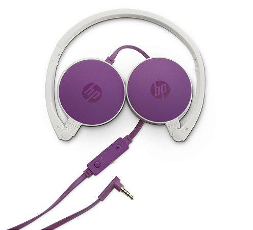 Fone de Ouvido Headphone HP com Microfone Dobrável H2800 - Roxo