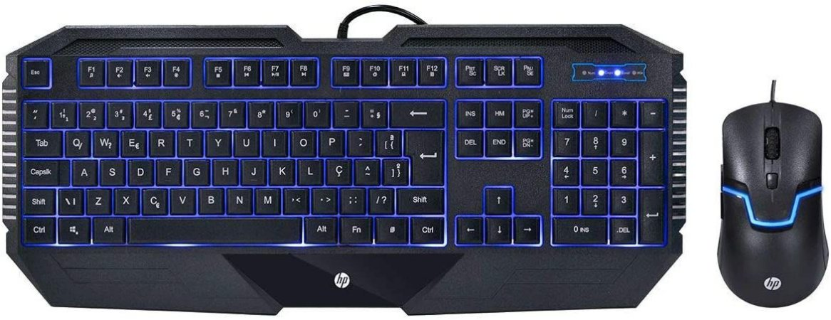 Kit Teclado e Mouse Gamer HP Gk1100 Usb - Preto