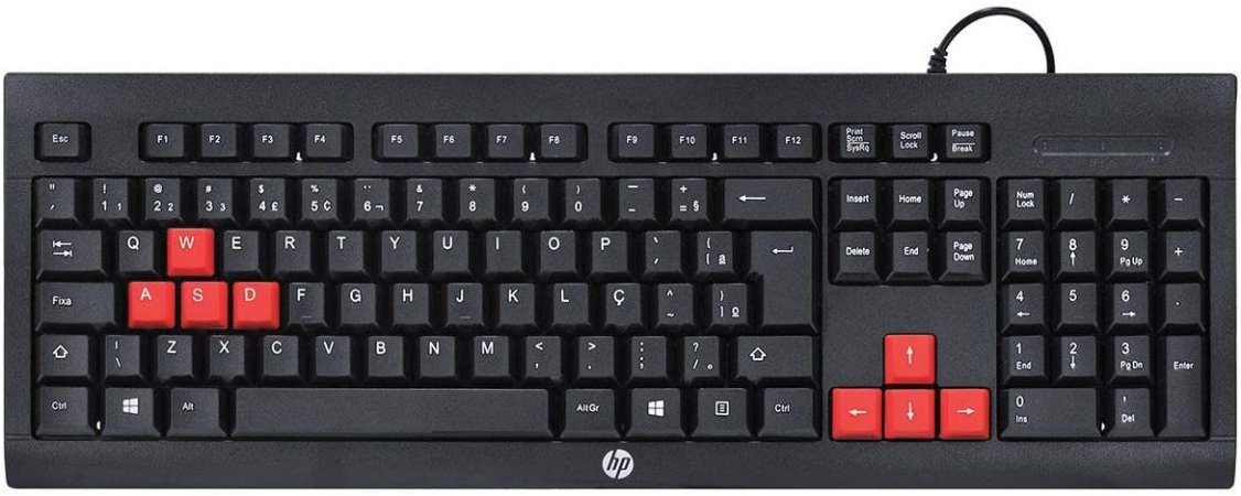 Kit Teclado e Mouse Gamer Usb, ABNT2 - Preto e Vermelho - KM100 - HP