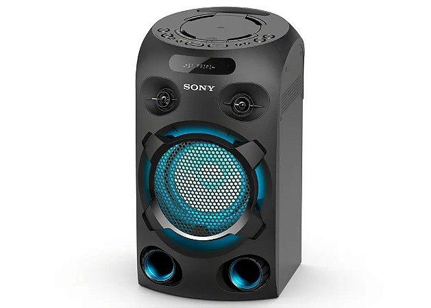 Caixa de Som Bluetooth Mini System Sony MHC V02 Muteki tipo torre com CD, conexão USB, iluminação, Karaokê