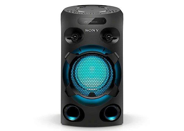 Caixa de Som Bluetooth Mini System Sony MHC V02 Muteki tipo torre com CD, conexão USB, iluminação, Karaokê - Preto
