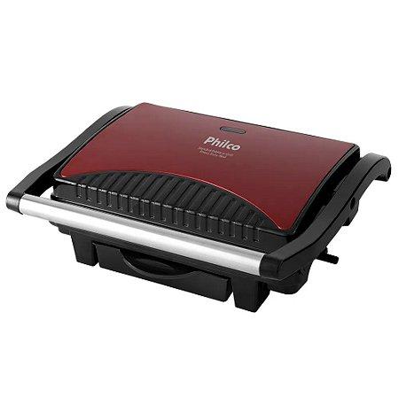 Sanduicheira E Grill Philco Press Inox e Vermelho - 220V