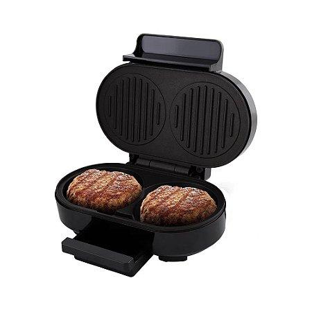 Grill Britânia Gourmet Burger 1000W Inox e Preto - 220V