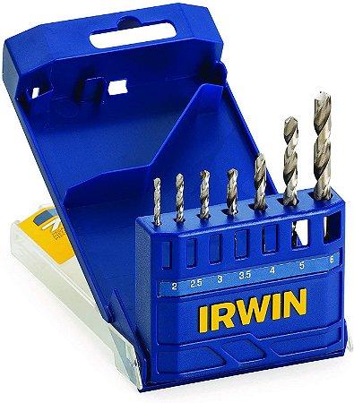 Jogo de Brocas Irwin Aço Rápido 2,0 à 6,0 mm para Metal 7 peças