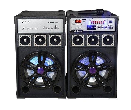 Caixa de Som Bluetooth Vicini 300W Rms VC-7300 Preta - Bivolt