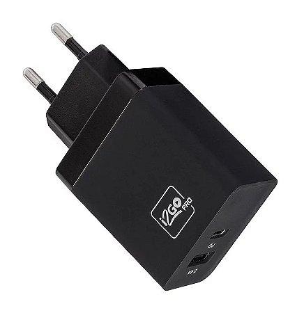 Carregador de Parede i2GO 1 Saída USB-C Power Delivery e 1 Saída USB Comum PROWAL022 - Preto
