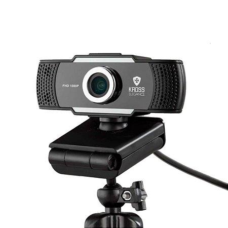 Webcam Kross Elegance HD 1080p Foco Manual com Tripé Ajustável KE-WBM1080P - Preto
