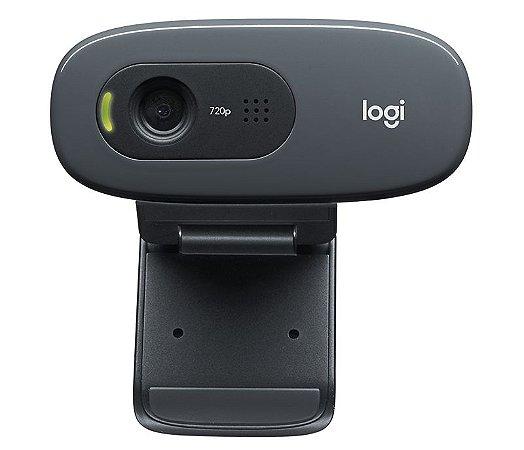 Webcam Logitech C270 HD 720P com Microfone USB 2.0 - Cinza