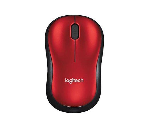 Mouse Sem Fio e 3 Botões Receptor USB 1000Dpi Vermelho e Preto - M185 910-003635 - Logitech