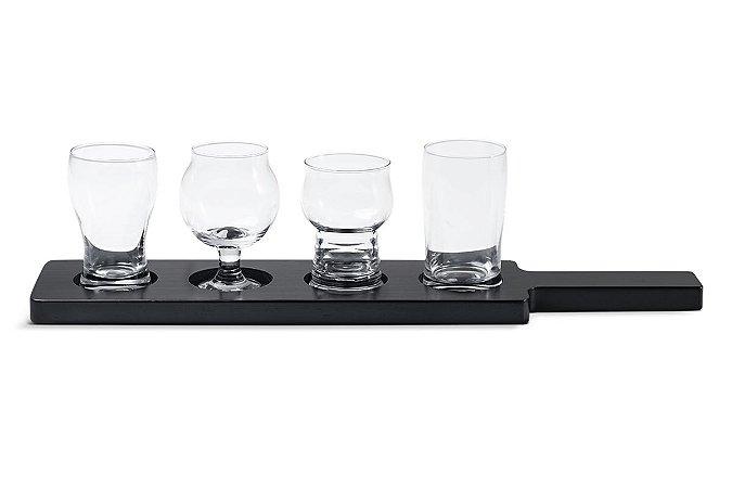Conjunto Mini Copos de Cerveja Haus Concept 5 peças Tap com Bandeija - Incolor