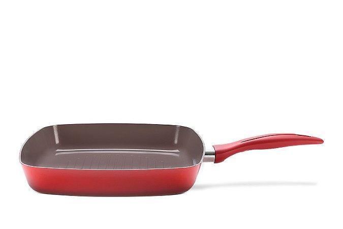 Grill 2 Litros - Ceramic Life Smart Plus 26 x 26 x 4,3 cm - Vermelho - Brinox