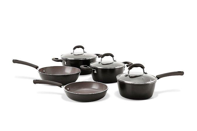 Conjunto de Panelas Brinox Ceramic Life Select 5 Peças - Carbono