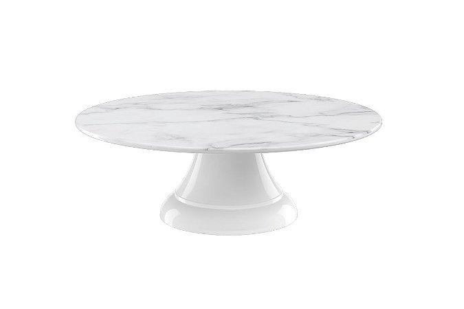 Boleira sem Borda Haus Concept Buffet 30,5X10cm - Branco Marmorizado