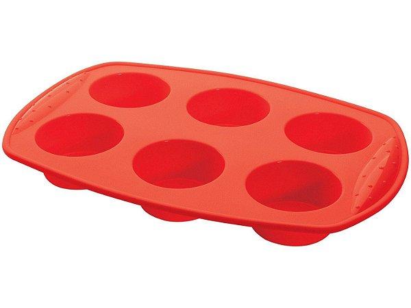 Forma para Muffin Hercules de Silicone Retangular 6 Cavidades - SLC130 Vermelha
