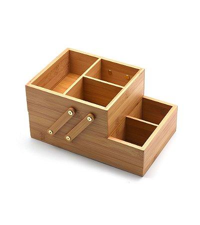 Caixa Organizadora de 2 Andares em Bambu - Oikos