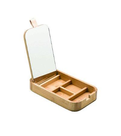 Porta Cosméticos Oikos de Bambu com Espelho