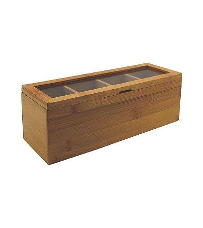 Porta Chás Oikos de Bambu com Divisórias