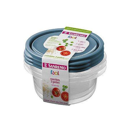 Conjunto de 3 Potes Redondos de Plástico Sanremo Fácil 620ml - Sortidos