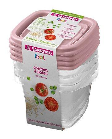 Conjunto de 4 Potes Quadrados de Plástico Sanremo Fácil 200ml - Sortidos