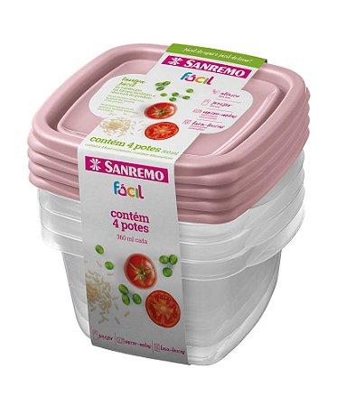 Conjunto de 4 Potes Quadrados de Plástico Sanremo Fácil 360ml - Sortidos