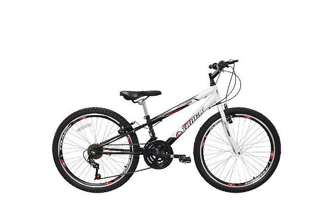 Bicicleta Aro 24 Track & Bikes Axess 18V - Preta e Branca