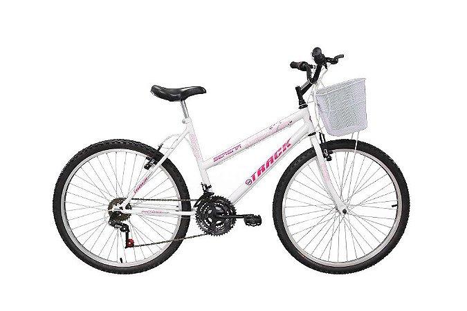 Bicicleta Serena Mountain Bike Aro 26 Track Bike - Branco e Rosa