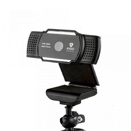 Webcam Full HD 1080p Foco Automático com Tripé Ajustável USB Preto - KE-WBA1080P - Kross Elegance
