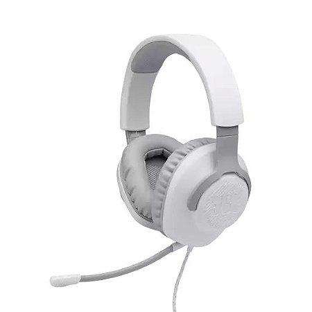 Headset Gamer Com Fio e Microfone Flexível e Removível P3 Branco - Quantum 100 - JBL