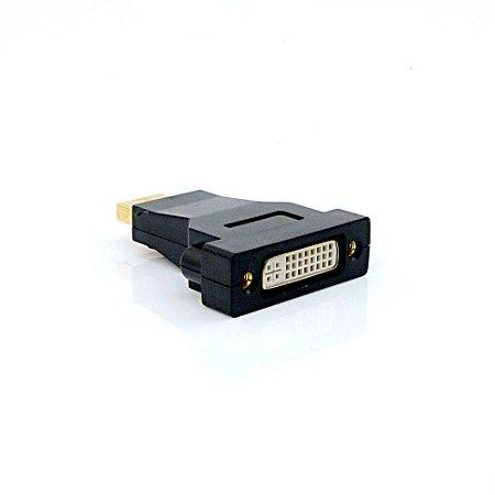 Adaptador de Vídeo DisplayPort Macho x DVI Fêmea Plus Cable ADP-102BK - Preto