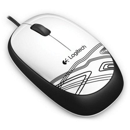 Mouse Óptico Com Fio e 3 Botões USB 1000Dpi Branco - M105 910-002958x - Logitech