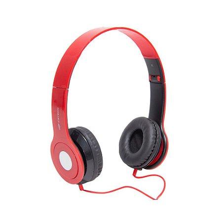 Fone de Ouvido Headphone C3Tech PH-100RD com Microfone Dobrável - Vermelho