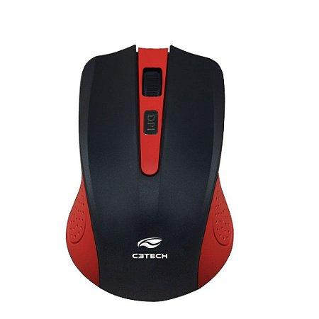 Mouse Sem Fio e 4 Botões Receptor Nano USB 1000Dpi Vermelho - M-W20RD - 402021130300 - C3Tech
