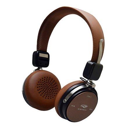 Headphone com Microfone Embutido Bluetooth P2 Marrom - PH-B600BW - C3Tech