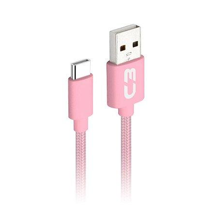 Cabo USB x USB-C 1 Metro 2A Rosa - CB-C11PK - C3Plus