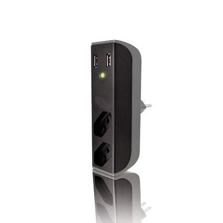 Carregador de Tomada C3Tech FL-USB21GBK Usb 2,1A + Filtro Bem Ligado - Preto