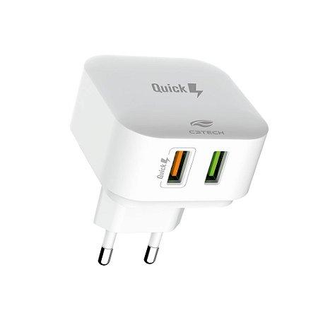 Carregador Universal C3Tech UC-Q230WH Quick Charge 3.0 2 USB - Branco
