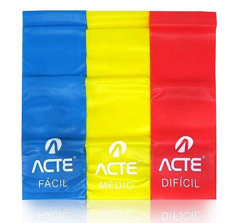 Kit com 3 Faixas Elásticas Acte Sports T13 Látex Band - Azul, Amarelo e Vermelho