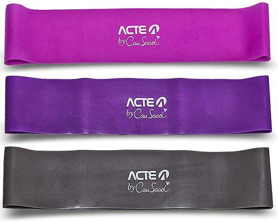 Kit Mini Band com 3 Níveis de Resistência Forte, Médio e Leve Acte Sports T71-R - Rosa, Roxo e Cinza