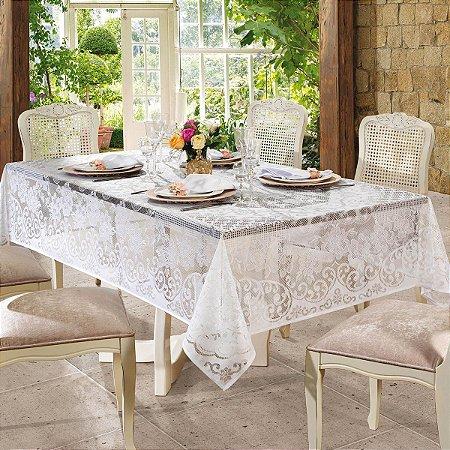 Toalha de Mesa Lepper em Renda Rosas Retangular 155x250cm - Branco
