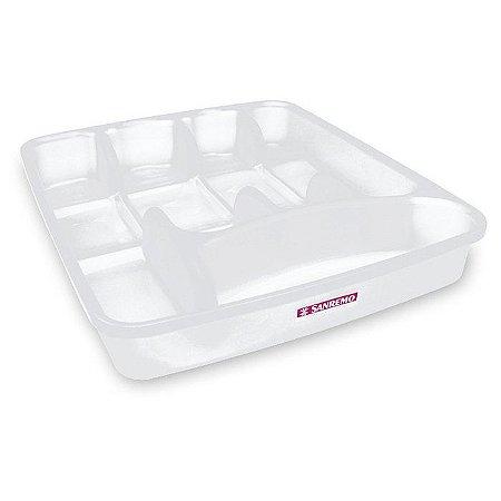 Porta Talher de Plástico sem Tampa Sanremo 34x23,5x4,9cm - Branco