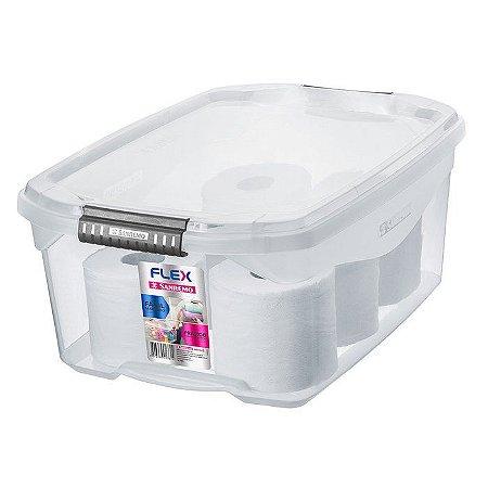Caixa Organizadora com Tampa de Plástico Sanremo Flex 20L 48,7x33,1x19,6cm - Incolor