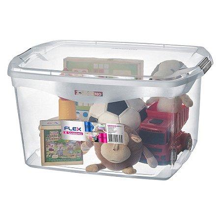 Caixa Organizadora com Tampa de Plástico Sanremo Flex 68L 63,1x44,1x33,1cm - Incolor