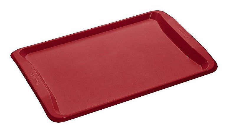 Bandeja Retangular de Plástico Sanremo Casar 49x34x3,16cm - Vermelho