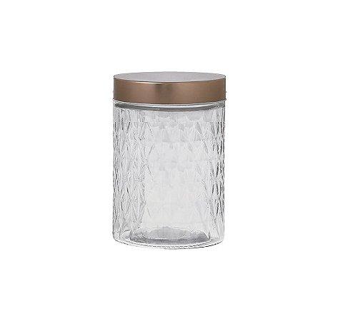 Pote de Vidro Hauskraft Hermético com Tampa Metalizada 1,2L - Rose Gold