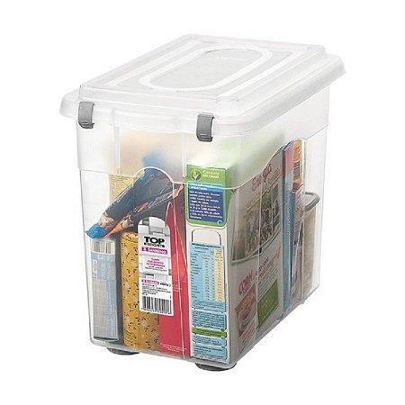 Caixa Organizadora com Tampa de Plástico Sanremo 26,5L 36,2x27x40cm - Incolor